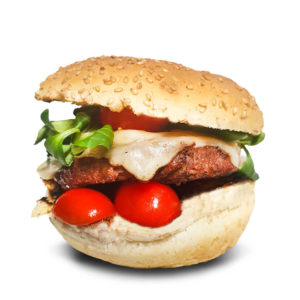 Toro seduto Hamburger di Bisonte